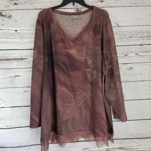 Catherine's Mauve Lace accent v-neck Tunic 4X